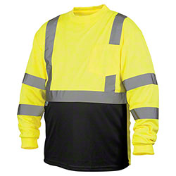 Pyramex® RLTS31B Hi-Vis Long Sleeve T-Shirt w/Black Bottom