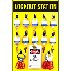 Safehouse Signs 10 Padlock Lockout Station Kit - 19 x 12