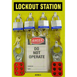 Safehouse Signs 4 Padlock Lockout Station Kit - 8 x 12