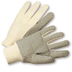 West Chester Natural w/Black Dotted Palm Canvas Glove -Large
