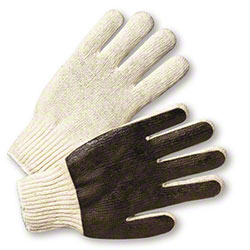 West Chester Cotton/Polyester Knit Gloves w/Brown PVC Dots