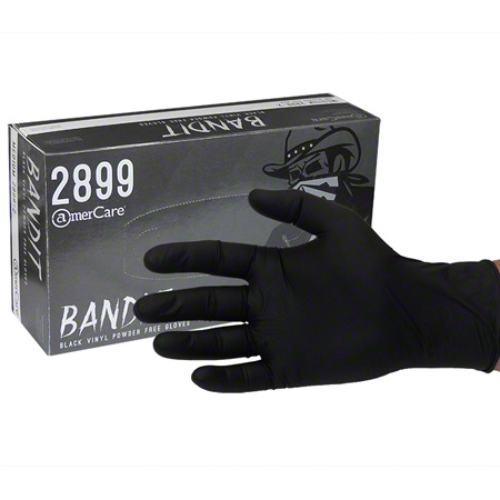 AmerCare® Bandit Black Vinyl Powder Free Glove - XL