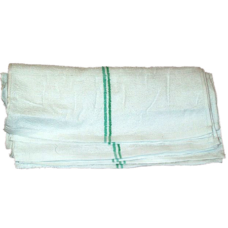 6172-ST-32 WHITE TERRY BAR TOWEL WITH GREEN STRIPE 32 OZ