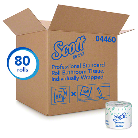 04460 SCOTT 2-PLY TOILET TISSUE 550SHTS 80RLS/CS