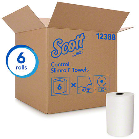 "12388 SCOTT® SLIMROLL HRT 8""X580' 6RLS/CS WHITE"