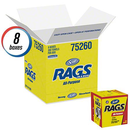 KCC 75260 SCOTT RAGS IN A BOX 200BX/8BOXES PER CASE