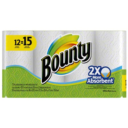 PGC 74697 BOUNTY TOWELS WHITE 12/CS (45 SHEETS) GREEN&YELLOW