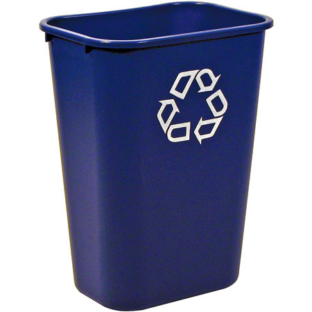 "RCP 295773BE BLUE WASTEBASKET 41QT DESKSIDE ""WE RECYCLE"""