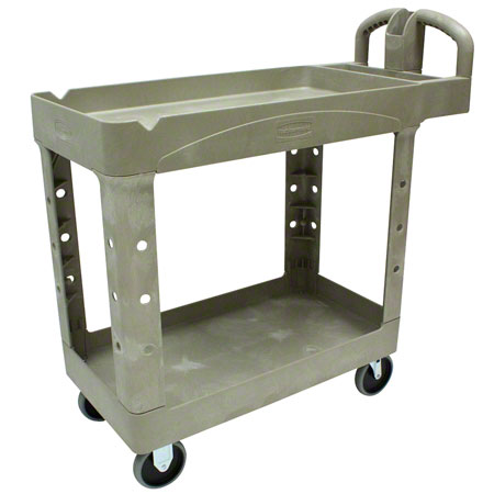 RCP 4500-88 BEI ULTILITY CART 2 TRAY SYTLE SHELVES W/STORAGE
