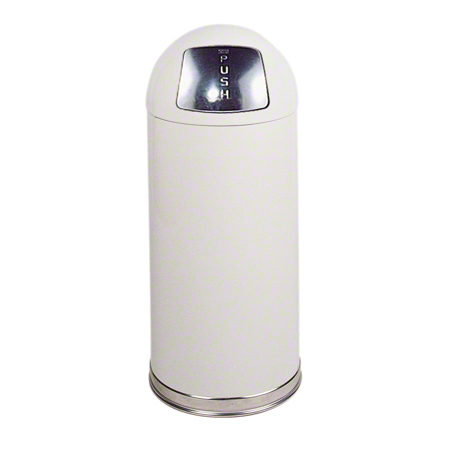 RCP R1536EGLW 15-GALLON FIRE SAFE DOME RECEPTACLE WHITE