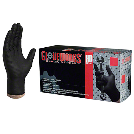 Ammex Gloveworks® HD Black Nitrile Latex Free Glove-Medium