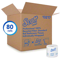 "Scott® Essential 100% Recycled Fiber Standard Roll Bathroom Tissue - 4.1"" x 4.0"""