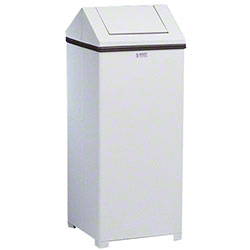 Rubbermaid® White Hinged Top Waste Container - 24 Gal.