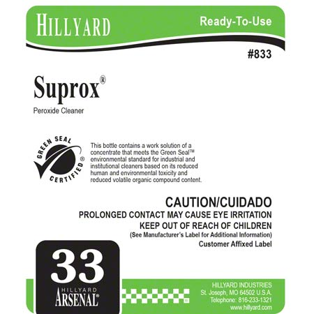 Hillyard #33 Arsenal® Suprox® Peroxide Cleaner Label
