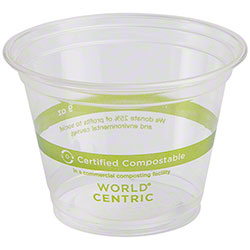 World Centric® Ingeo™ Clear Cold Cup - 9 oz. Squat