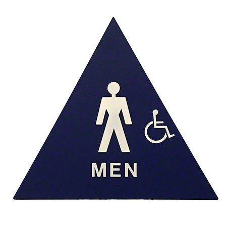 Men's Restroom Sign Triangular w/Handicap and Brail