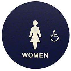 Women's Restroom Sign Circular w/Handicap and Brail