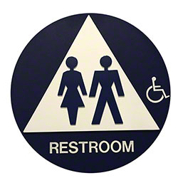 Unisex Restroom Sign Circular w/Handicap and Brail