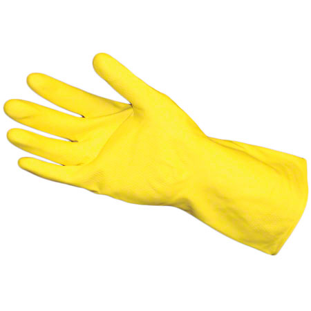 CS 12 PR BWK LATEX FLOCK LINED SMALL GLOVES YELLOW