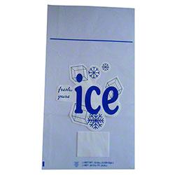 "Saneck 10 lb. Stock Print Ice Bag w/Twist Tie - 12"" x 21"""