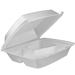Dart® Foam Hinged Lid Cont.-Med,3Cmpt w/Removable Lid,WH