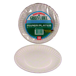 AJM Green Label White Uncoated Paper Plate - 9""