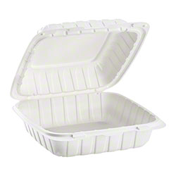 "Karat® Mineral Filled PP Hinged Container - 9"" x 9"", White"