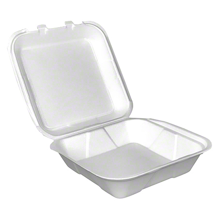 Hinged Foam 1-Compartment Carryout Container - White