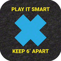 """Play it Smart Keep 6' Apart"" Floor Sign & Marker - 9"" x 9"""