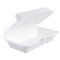 Dart® Foam Hinged Lid Cont. - 1 Cmpt/All Purpose, White