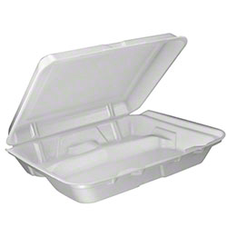 Dart® Foam Hinged Lid Cont. - Large, 3 Cmpt., White