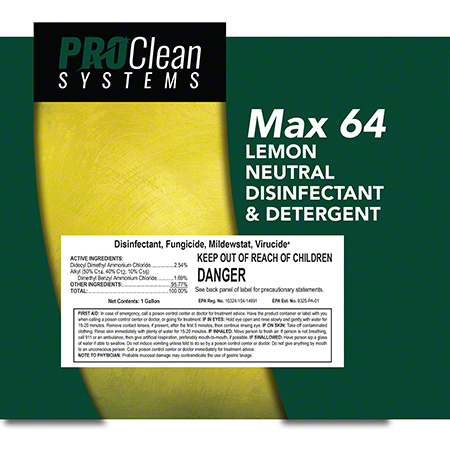ProClean Systems Max 64 Lemon Neutral Disinfectant/Detergent