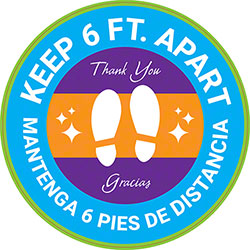 "Hillyard ""Keep 6 ft. Apart"" Social Distance Floor Decal"