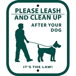 "Dog Waste Station Sign ""Leash and Clean Up After Your Pet"""