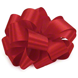 "Shamrock Satin Acetate Bow - 7/8"" x 100 yds., Red"