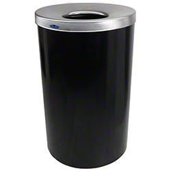 Frost™ Black Round Lobby Waste Container - 32 Gal., Black