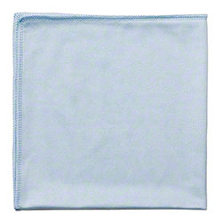 "Globe™ Glass/Mirror Microfiber Cloth - 16"" x 16"", Blue"