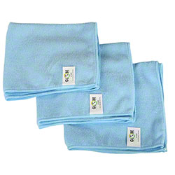 "Globe™ 240 GSM Microfiber Cloth - 16"" x 16"", Blue"