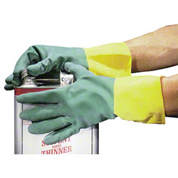 Impact® Green Nitrile Over Yellow Latex Flock Lined, Med.