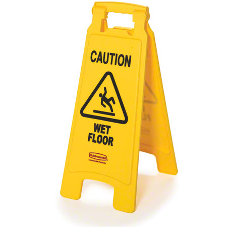 """Rubbermaid® """"Caution Wet Floor"""" 2-Sided Safety Sign"""