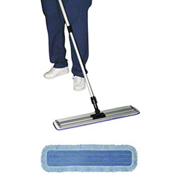 "SSS® HD MicroPower Wet Mop Pad-5"" x 18"", Blue w/White Back"