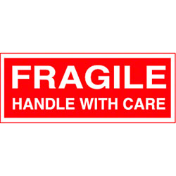 "2"" x 5"" Fragile Handle With Care Label"
