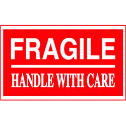 "3"" x 5"" Fragile Handle With Care Label"