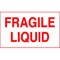 "3"" x 5"" Fragile Liquid Label"