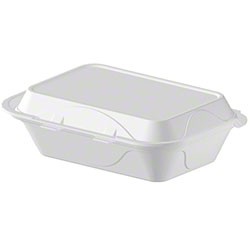 Darnel White Hinged Lid Foam Container - M-1, 1 Cmpt.