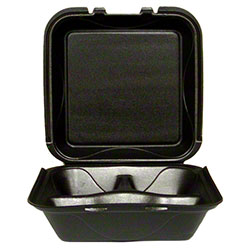Darnel Vented Hinged Lid Foam Container -S-3, 3 Cmpt., Black