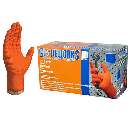 Ammex Gloveworks® HD Orange Nitrile Latex Free Glove-Large