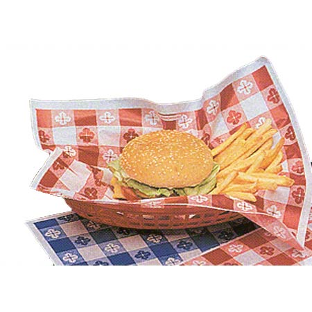 Dry Waxed Basket Liner - 15 x 16, Red Gingham