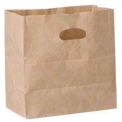 "Duro White 3/4 Die-Cut Handle Bag - 11"" x 6"" x 11"", Kraft"