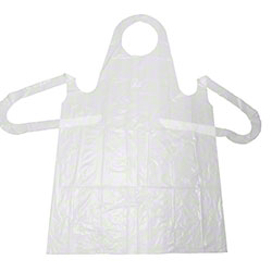 elara® Heavy Weight White Apron w/Extra Long Ties -28 x 46